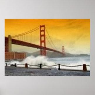 Sunset on The Golden Gate Bridge, San Francisco CA Poster