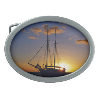Sunset on the Great Barrier Reef Oval Belt Buckle