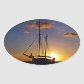 Sunset on the Great Barrier Reef Oval Sticker