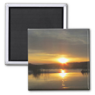 Sunset on the Hudson 2 Inch Square Magnet
