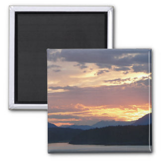 Sunset on the Inside Passage 2 Inch Square Magnet
