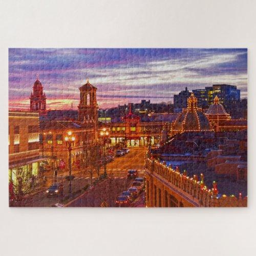 Sunset on the Kansas City Plaza Lights Jigsaw Puzzle