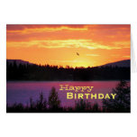 Sunset On The Lake, Happy Birthday Greeting Card