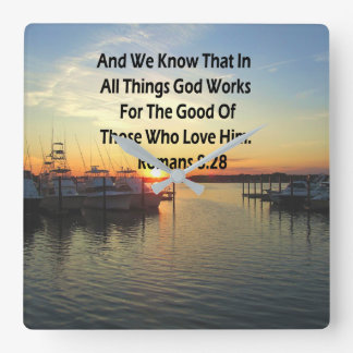 SUNSET ON THE LAKE ROMANS 8:28 SCRIPTURE SQUARE WALL CLOCK