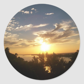 Sunset on the Mississipp Classic Round Sticker
