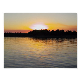 Sunset on the Mississippi River Poster