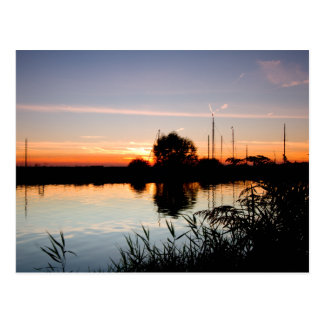 """Sunset on the Norfolk Broads"" Postcard"