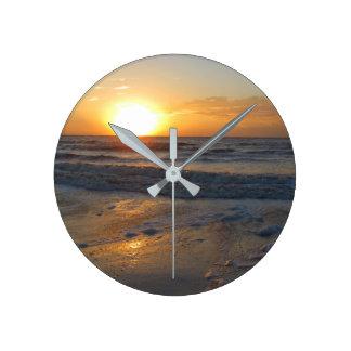 Sunset on the Ocean Round Clock