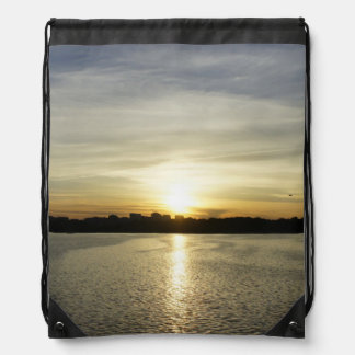 Sunset on the Potomac Drawstring Bag