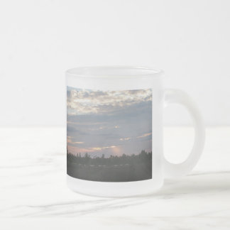 Sunset on the Red River Frosted Glass Coffee Mug