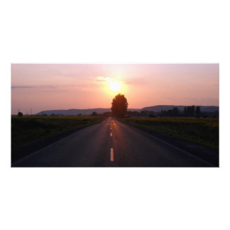 Sunset on the road picture card