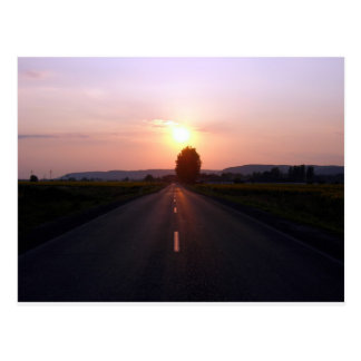 Sunset on the road postcard