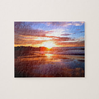 Sunset On The Rocks Jigsaw Puzzle
