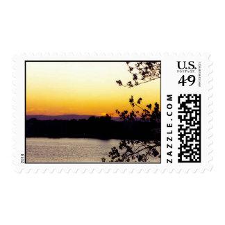 sunset on the Sacramento River Postage Stamp