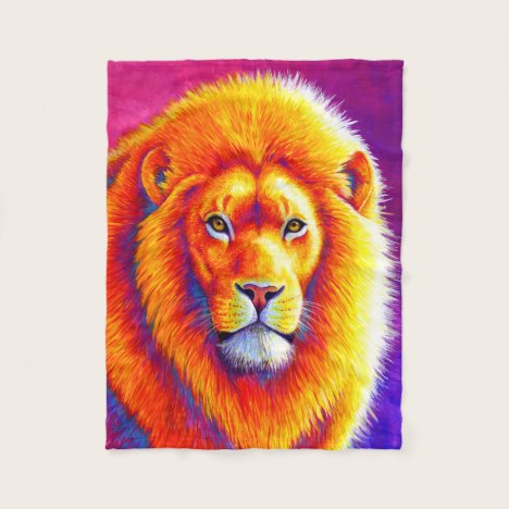 Sunset on the Savanna African Lion Fleece Blanket