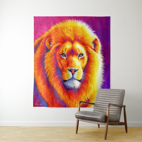 Sunset on the Savanna African Lion Tapestry