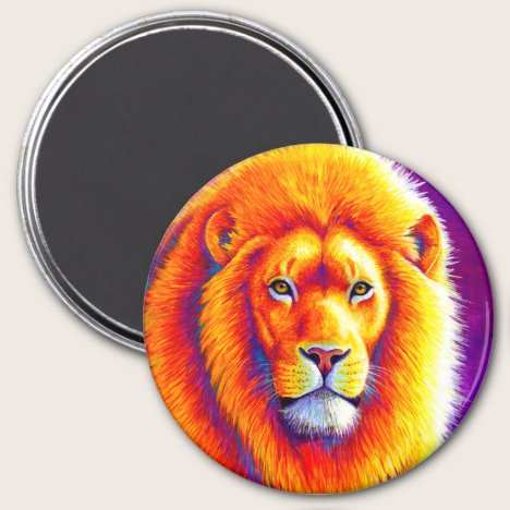Sunset on the Savanna Colorful African Lion Magnet