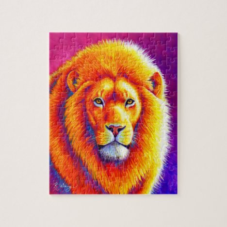 Sunset on the Savanna Colorful African Lion Puzzle