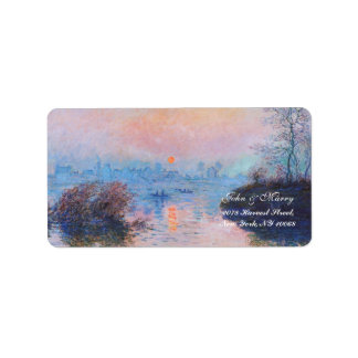 Sunset on the Seine at Lavacourt(Winter Effect) Address Label