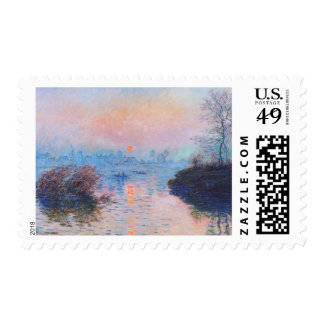 Sunset on the Seine at Lavacourt(Winter Effect) Postage Stamp