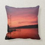 Sunset on the Seneca Duel Side Throw Pillows