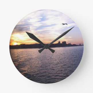 Sunset on the Staten Island Ferry Round Clock