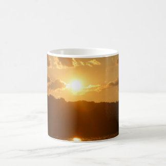 Sunset  on  the tree line on the water 11 oz magic heat Color-Changing coffee mug