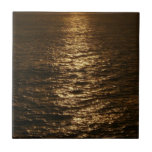 Sunset on the Water Abstract Ocean Photography Ceramic Tile