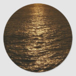 Sunset on the Water Abstract Ocean Photography Classic Round Sticker