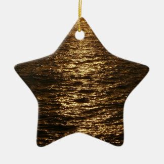 Sunset on the Water Abstract Ocean Photography Double-Sided Star Ceramic Christmas Ornament