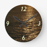 Sunset on the Water Abstract Ocean Photography Round Clock