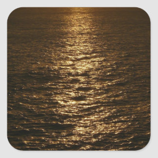 Sunset on the Water Abstract Ocean Photography Square Sticker