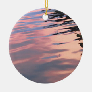 Sunset on the water ceramic ornament