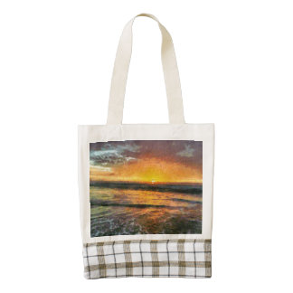 Sunset on the water zazzle HEART tote bag
