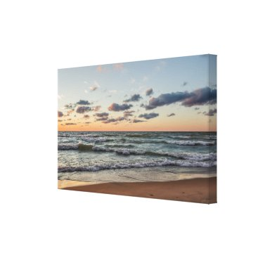 Art Themed Sunset on the Waves of Lake Michigan Canvas Print