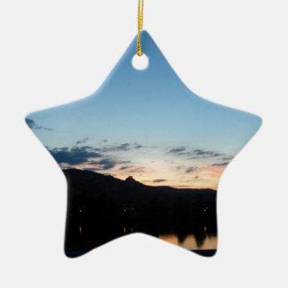 Sunset one the Rhone Ceramic Ornament