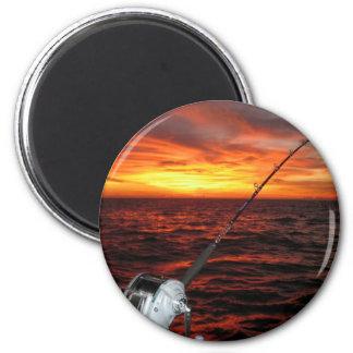 Sunset Open Sea Fishing Magnet