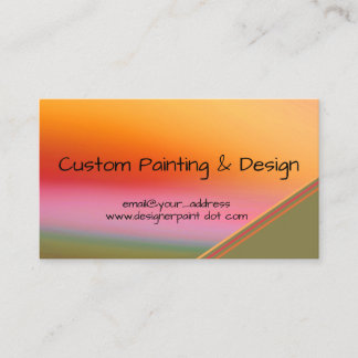 Sunset Orange Abstract Watercolor Occupation Business Card