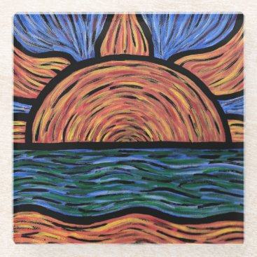 Sunset Orange And Blue Colors In Motion Glass Coaster
