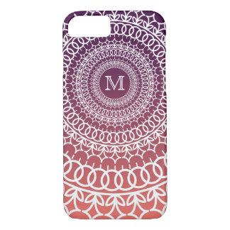 Sunset Orange and Violet Mandala Monogram iPhone 7 Case