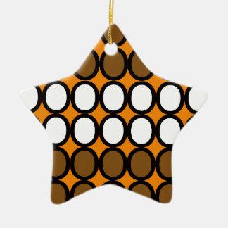 Sunset Orange and White Splash of O's Ceramic Ornament