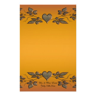 Sunset Orange Brass Leaves & Hearts Wedding Stationery