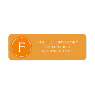Sunset Orange Muted Monogram Custom Monogrammed Label
