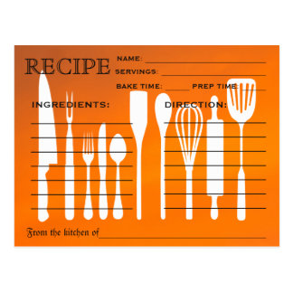 Sunset Orange Retro Recipe Card Kitchen Tools