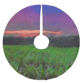 Sunset over a Corn Field Brushed Polyester Tree Skirt