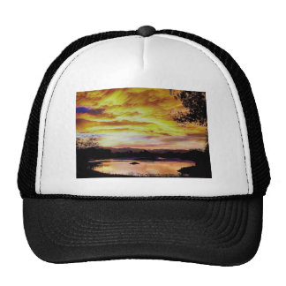 Sunset Over a Country Pond Trucker Hat