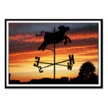 Sunset Over a Cow Weather Vane Business Card Template