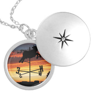 Sunset Over a Cow Weather Vane Personalized Necklace