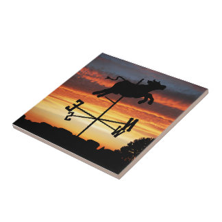 Sunset Over a Cow Weather Vane Ceramic Tiles