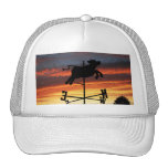 Sunset Over a Cow Weather Vane Trucker Hats